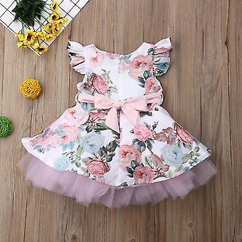 Принцесса новорожденных Baby платье, цветочное кружево Туту платье