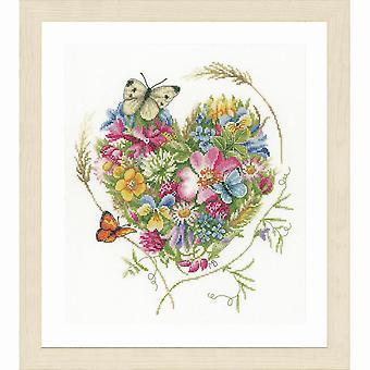 Lanarte räknade cross stitch kit: hjärta av blommor (Evenweave)