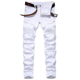 Allthemen Mænds Rippet Elastisk Knee Plisseret Slim Tilspidset Leg Jeans Denim Pants