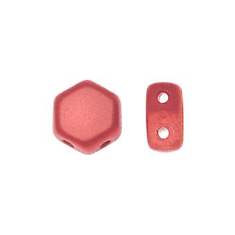 Czech Glass Honeycomb Beads, 2-Hole Hexagon 6mm, 30 Pieces, Pastel Dark Coral