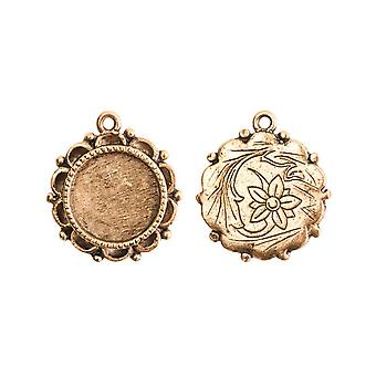 Nunn تصميم العتيقة 22K الذهب مطلي المزخرفة دائرة مدي قلادة 22mm (1)