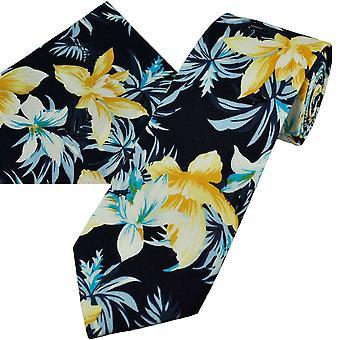 Ties Planet Navy keltainen, valkoinen & taivas sininen narsissi kukka kuviollinen puuvilla miesten solmio & tasku neliö nenäliina set
