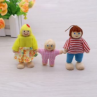Children doll family wooden toy wooden movable joint mini doll