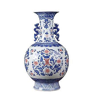 Jingdezhen Hand Painted Blue and white Glaze Red Ceramic Flower Vase
