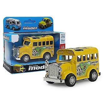 حافلة مدرسية مصغرة صفراء سحب السيارة انزلاق سبيكة، نموذج سيارة محاكاة مع يمكن فتح الباب az9097