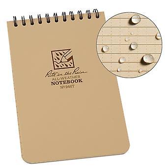 Rite In The Rain Universal Notebook, Top Spiral Bound 4 x 6 Inch - Tan