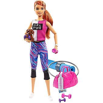 Barbie Wellness Fitness Doll med valp och tillbehör