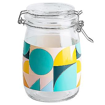 1pc Natrium-Calcium Glas Aufbewahrung Tank einfache gedruckte Dichtung Tank tragbare LebensmittelAufbewahrung Flasche versiegelt leeren Honig Glas große Kapazität Kanister für zu Hause (t