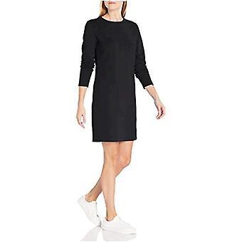 Essentials Damen Crewneck Langarm Französisch Terry Fleece über dem Knie Kleid