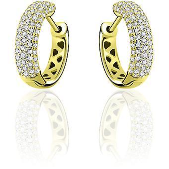 Gisser Jewels - Örhängen - Örhängen set med Zirconia - 5mm Bred - 15mm∅ - Gult guld pläterat Silver 925