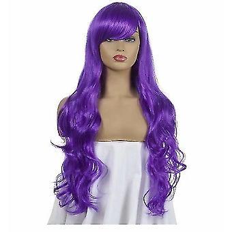 Tecknad cos lång lockig cosplay peruk (lila)
