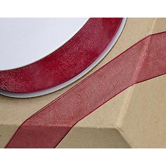 25m Burgundy 3mm Wide Woven Edge Organza Ribbon for Crafts