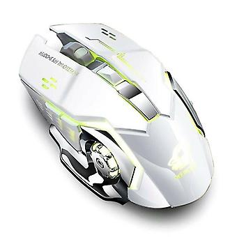 (Bianco) Usb Mute 2.4GHz Wireless Gaming Office Mouse Meccanico LED Ottico per laptop
