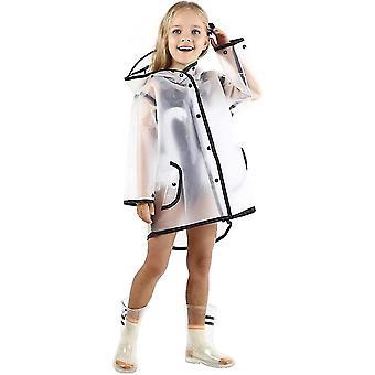 الأطفال شفافة زر معطف المطر، للبنين الفتيات سترة المطر مقنعين، خفيفة الوزن ارتداء المطر(واضح)