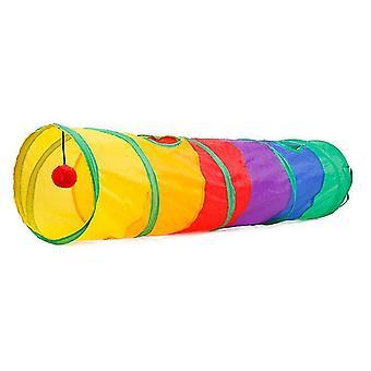 ערוץ חתול מתקפל מתגלגל הרצפה דרקון צבע גליל חיית מחמד צעצוע קשת מנהרה חתול(1 צבע)