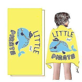 Nouveau dessin animé Séchage rapide Absorbant Serviette de plage pour enfants Velours à double face (Baleine)
