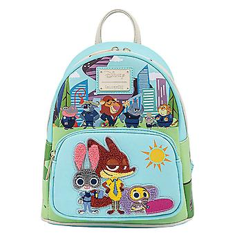 Loungefly Mini Backpack Zootopia Chibi Group ny officiell Disney Blue
