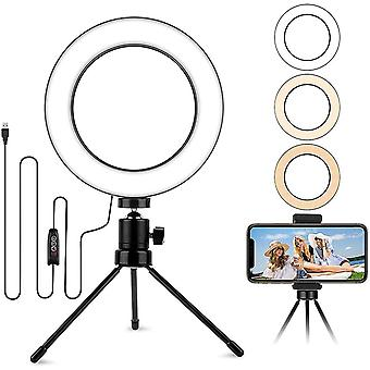 6.2'' Table Selfie Ring Light with Stand, Mini Desktop LED Lamp with Dimmable 3 Modes 10 Brightness
