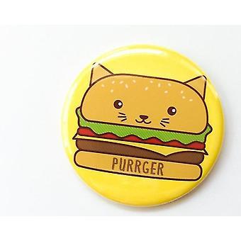 Hamburger Cat Button Pin Magnet Or Pocket Mirror