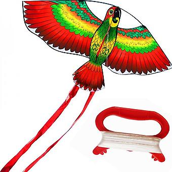 Rainbow Color Parrot Kite With Rope Plastic Handle