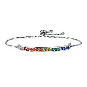 Silver plating Color Rainbow Stamp Chain Link Bracelet Lace Up Bracelets for Women Jewelry