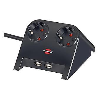 Brennenstuhl Desktop-Power, 2xCEE7/4, 2xUSB 2.1A, 1.8m kábel, čierny