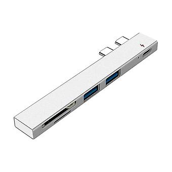 USB C HUB Dual Tipo C Adaptador Dock con USB PD Cargador SD / TF Ranura para PC para Macbook Pro 13 15 Aire