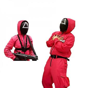 Squid Game Villain Red Jumpsuit Mask Cosplay Halloween Costume di Natale