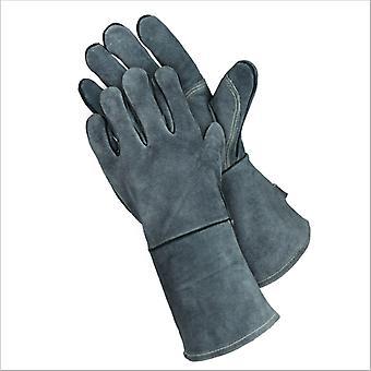 Bbq rukavice Dvouvrstvé tepelně odolné trouby Rukavice žáruvzdorné hliníkové fólie Grilovací rukavice, Mikrovlnné rukavice, všechny šedé 14 palce