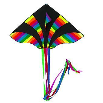 New Dazzling Four-tailed Kite Cartoon Triangular Kite For Kids Dazzling Four-tailed Blac
