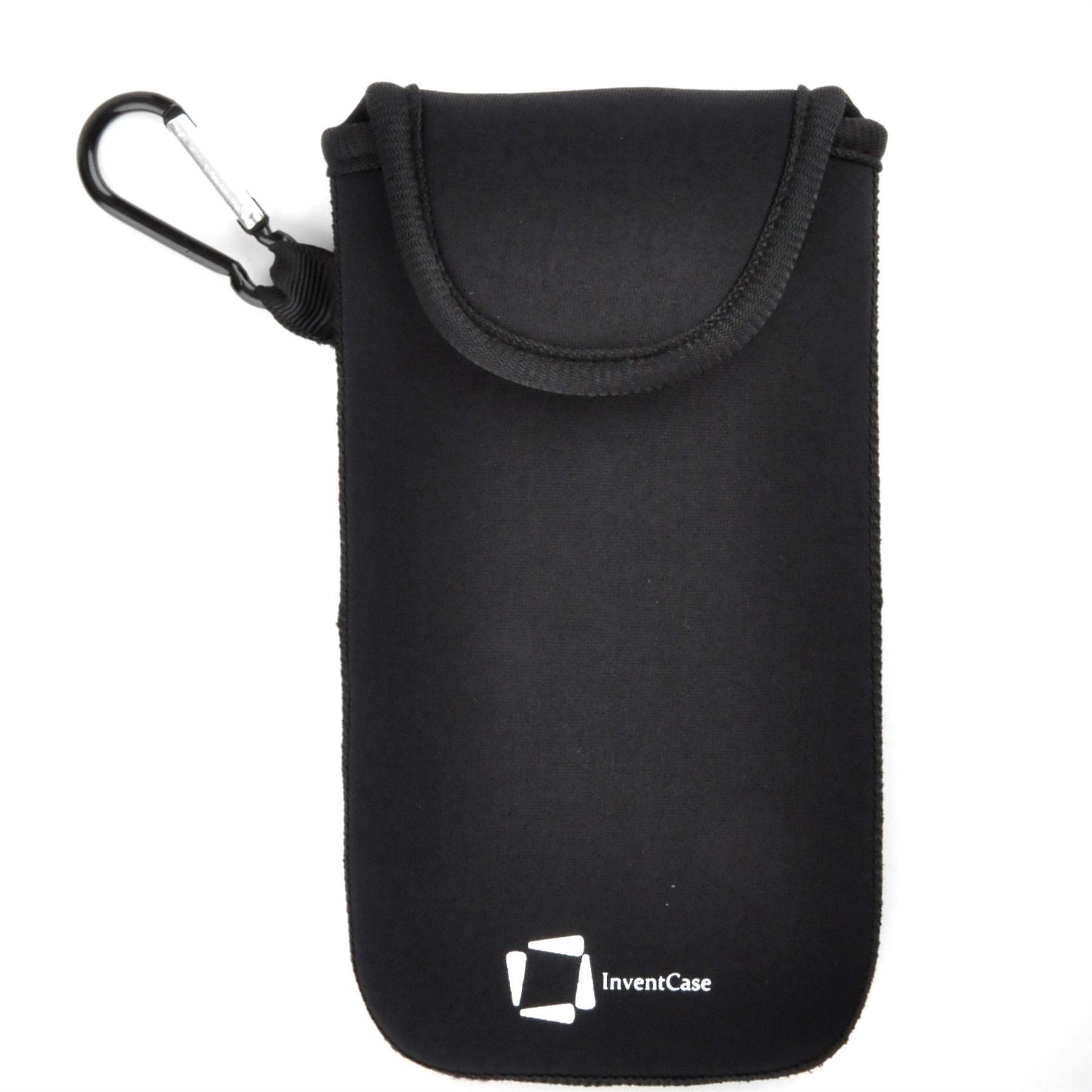 كيس تغطية القضية الحقيبة واقية مقاومة لتأثير النيوبرين إينفينتكاسي مع إغلاق Velcro و Carabiner الألومنيوم للاتجاه سامسونج جالاكسى بلس--الأسود