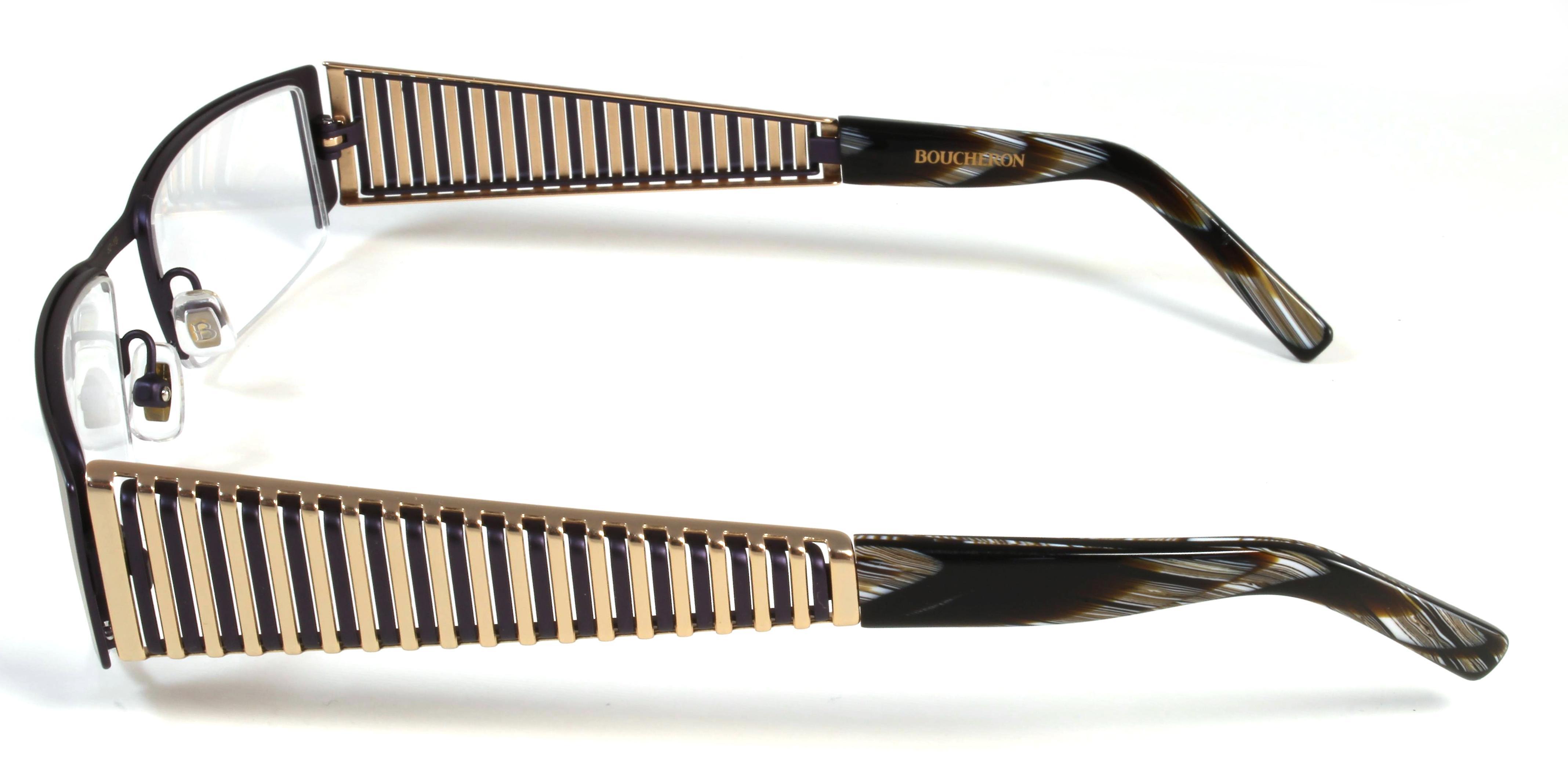 Boucheron Unisex Semi-Rectangle Eyeglasses Purple/Gold