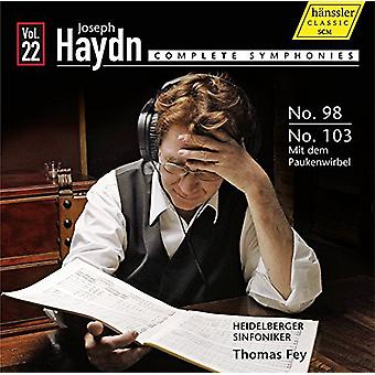 Haydn / Fey / Heidelberger Sinfoniker - Comp Syms 22-Syms 98 & 103 [CD] USA import