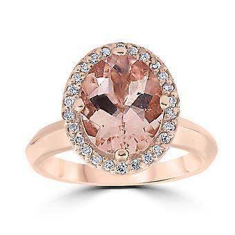 2 1/10ct Oval Morganite Halo Vintage Diamond Engagement Ring 14k Rose Gold