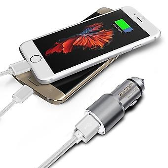 (Grey) Dual Port Aluminium Car Charger Adaptor (3.1A/24W) & 2 x 1 Meter Micro-USB Data Cable For Gionee S10B