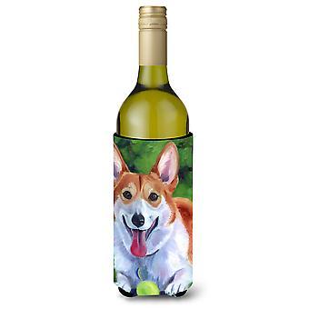 Corgi with green ball Wine Bottle Beverage Insulator Hugger