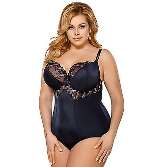 Gorsenia K389 Women's Felice Navy Blue Non-Padded Underwired Bodysuit Body