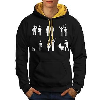 Wedding Love Couple Men Black (Gold Hood)Contrast Hoodie | Wellcoda