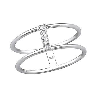 Double Line - 925 Sterling Silver Jewelled Rings - W30536x