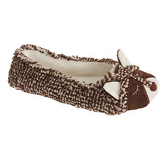 Slumberzzz Womens/Ladies Slip On Raccoon Slippers