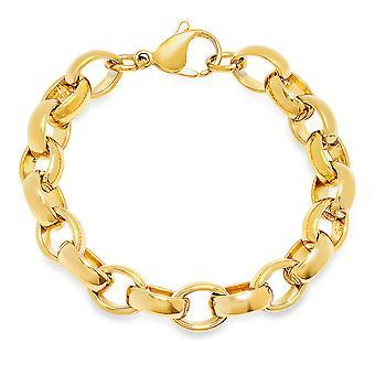 السيدات 18 ك الفولاذ المقاوم للصدأ مطلي الذهب سلسلة الارتباط سوار