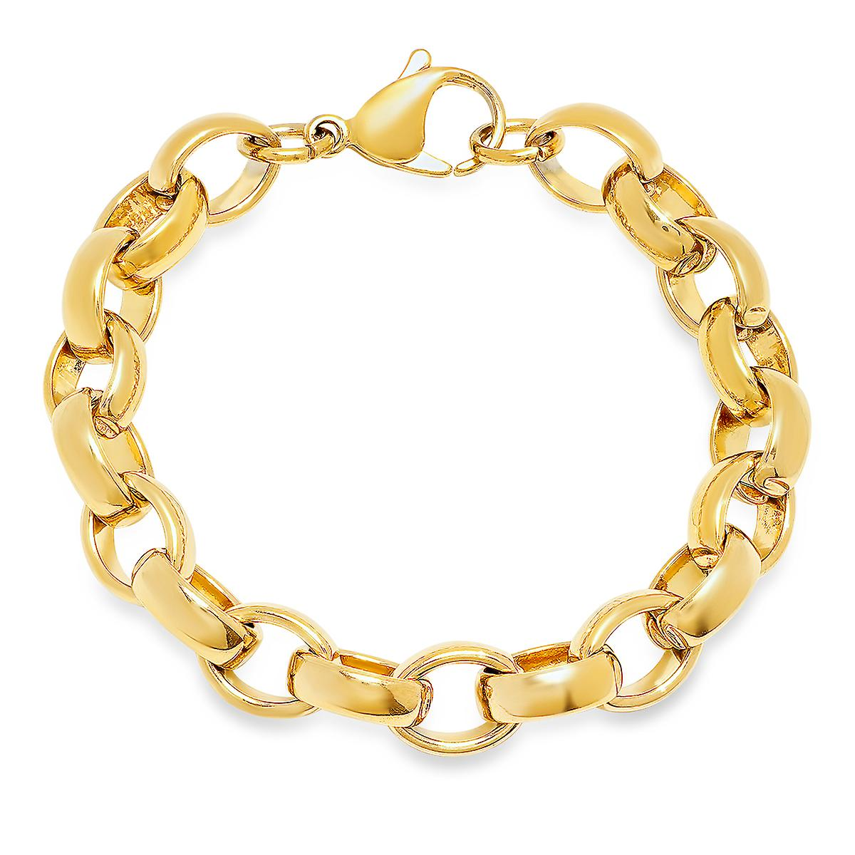 Ladies 18K Gold Plated Stainless Steel Chain Link Bracelet