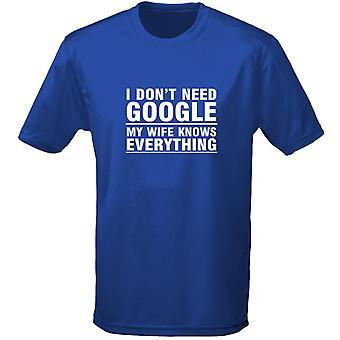 Je ne besoin Google ma femme sait tout Mens T-Shirt 10 couleurs (S-3XL) par swagwear