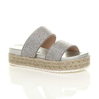 Ajvani womens mid wedge diamante platform flatform espadrilles sandals