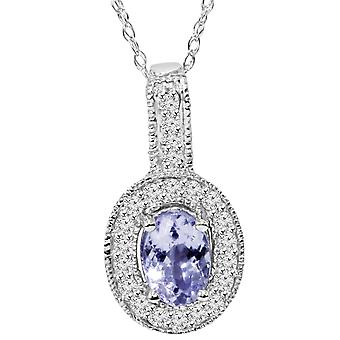 5/8 CT Tanzanite & Diamond Milgrain Vintage Halo ciondolo 10K oro bianco