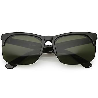 Prawdziwy róg Vintage oprawie pół bezoprawkowe okulary Square soczewki 61mm