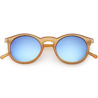 Retro Horn Rimmed Round Sunglasses Keyhole Bridge Colored Mirror Lens 48mm