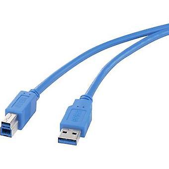 Renkforce USB 3.0 kabel [1 x USB 3.0 aansluiting voor A - 1 x USB 3.0 aansluiting B] 0,5 m blauw met goud beklede aansluitingen