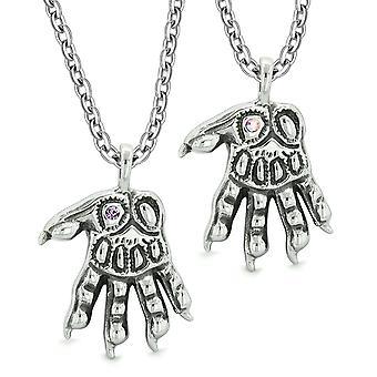 Werwolf Pfoten übernatürliche Amulette Liebe Paare Beste Freunde Rainbow lila Kristalle Halsketten