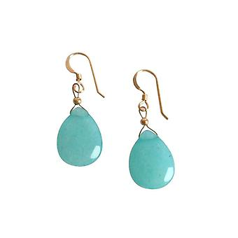 Gemshine Women's Earrings Jade Blue 925 Sterling Silver 2.5 cm